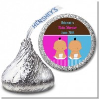 Twin Babies 1 Boy and 1 Girl Hispanic - Hershey Kiss Baby Shower Sticker Labels