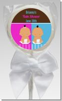 Twin Babies 1 Boy and 1 Girl Hispanic - Personalized Baby Shower Lollipop Favors