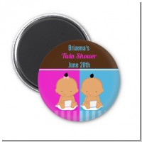 Twin Babies 1 Boy and 1 Girl Hispanic - Personalized Baby Shower Magnet Favors