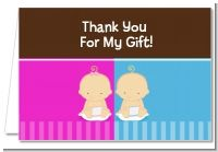 Twin Babies 1 Boy and 1 Girl Caucasian - Baby Shower Thank You Cards