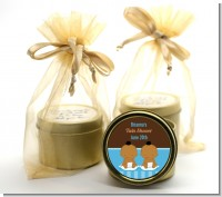 Twin Baby Boys African American - Baby Shower Gold Tin Candle Favors