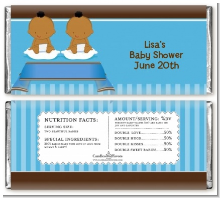 Twin Baby Boys African American - Personalized Baby Shower Candy Bar Wrappers
