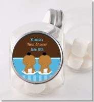 Twin Baby Boys African American - Personalized Baby Shower Candy Jar