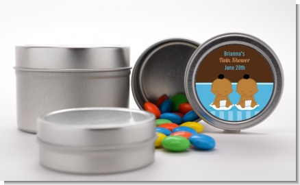 Twin Baby Boys African American - Custom Baby Shower Favor Tins