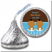 Twin Baby Boys African American - Hershey Kiss Baby Shower Sticker Labels