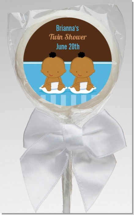 Twin Baby Boys African American - Personalized Baby Shower Lollipop Favors