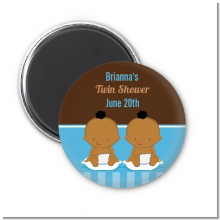 Twin Baby Boys African American - Personalized Baby Shower Magnet Favors