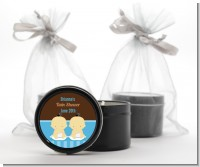Twin Baby Boys Asian - Baby Shower Black Candle Tin Favors