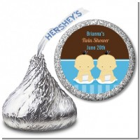 Twin Baby Boys Asian - Hershey Kiss Baby Shower Sticker Labels