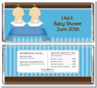 Twin Baby Boys Caucasian - Personalized Baby Shower Candy Bar Wrappers