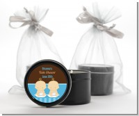 Twin Baby Boys Caucasian - Baby Shower Black Candle Tin Favors