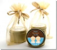 Twin Baby Boys Caucasian - Baby Shower Gold Tin Candle Favors