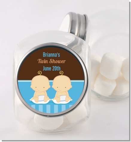 Twin Baby Boys Caucasian - Personalized Baby Shower Candy Jar