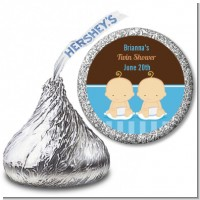 Twin Baby Boys Caucasian - Hershey Kiss Baby Shower Sticker Labels