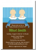 Twin Baby Boys Caucasian - Baby Shower Petite Invitations