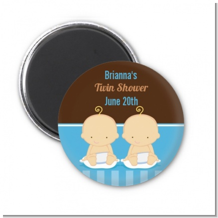 Twin Baby Boys Caucasian - Personalized Baby Shower Magnet Favors