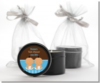Twin Baby Boys Hispanic - Baby Shower Black Candle Tin Favors