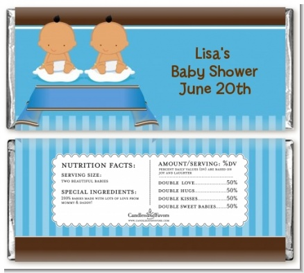 Twin Baby Boys Hispanic - Personalized Baby Shower Candy Bar Wrappers