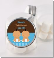 Twin Baby Boys Hispanic - Personalized Baby Shower Candy Jar