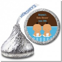 Twin Baby Boys Hispanic - Hershey Kiss Baby Shower Sticker Labels