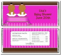 Twin Baby Girls African American - Personalized Baby Shower Candy Bar Wrappers