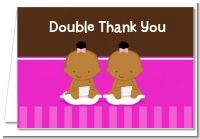Twin Baby Girls African American - Baby Shower Thank You Cards