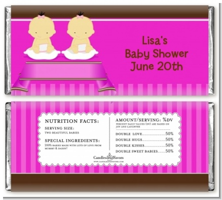 Twin Baby Girls Asian - Personalized Baby Shower Candy Bar Wrappers
