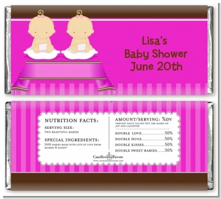 Twin Baby Girls Caucasian - Personalized Baby Shower Candy Bar Wrappers