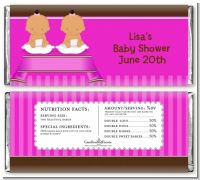 Twin Baby Girls Hispanic - Personalized Baby Shower Candy Bar Wrappers