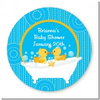 Twin Duck - Round Personalized Baby Shower Sticker Labels