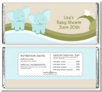 Twin Elephant Boys - Personalized Baby Shower Candy Bar Wrappers