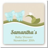 Twin Elephant Boys - Square Personalized Baby Shower Sticker Labels