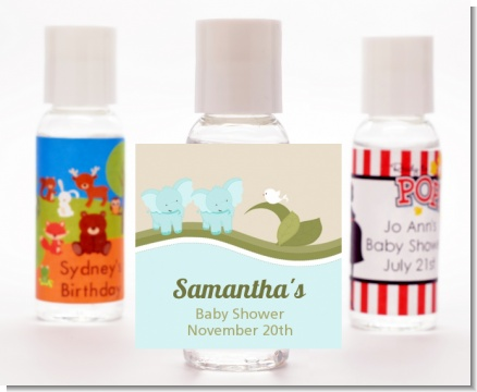 Twin Elephant Boys - Personalized Baby Shower Hand Sanitizers Favors