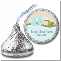 Twin Elephant Boys - Hershey Kiss Baby Shower Sticker Labels