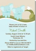 Twin Elephant Boys - Baby Shower Invitations