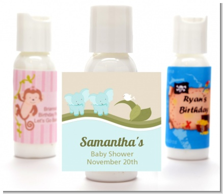 Twin Elephant Boys - Personalized Baby Shower Lotion Favors