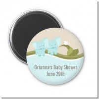 Twin Elephant Boys - Personalized Baby Shower Magnet Favors