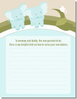 Twin Elephant Boys - Baby Shower Notes of Advice