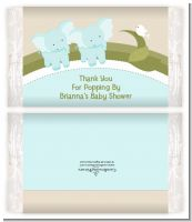 Twin Elephant Boys - Personalized Popcorn Wrapper Baby Shower Favors