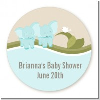 Twin Elephant Boys - Round Personalized Baby Shower Sticker Labels
