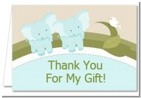 Twin Elephant Boys - Baby Shower Thank You Cards