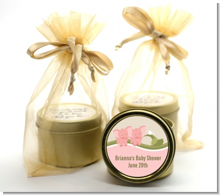 Twin Elephant Girls - Baby Shower Gold Tin Candle Favors