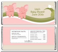 Twin Elephant Girls - Personalized Baby Shower Candy Bar Wrappers