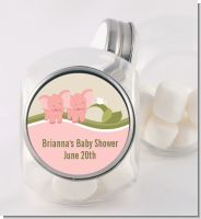 Twin Elephant Girls - Personalized Baby Shower Candy Jar
