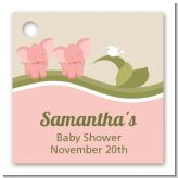 Twin Elephant Girls - Personalized Baby Shower Card Stock Favor Tags