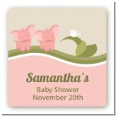 Twin Elephant Girls - Square Personalized Baby Shower Sticker Labels