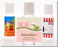 Twin Elephant Girls - Personalized Baby Shower Hand Sanitizers Favors