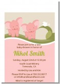 Twin Elephant Girls - Baby Shower Petite Invitations