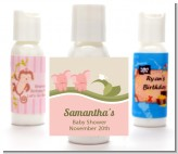 Twin Elephant Girls - Personalized Baby Shower Lotion Favors