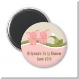 Twin Elephant Girls - Personalized Baby Shower Magnet Favors
